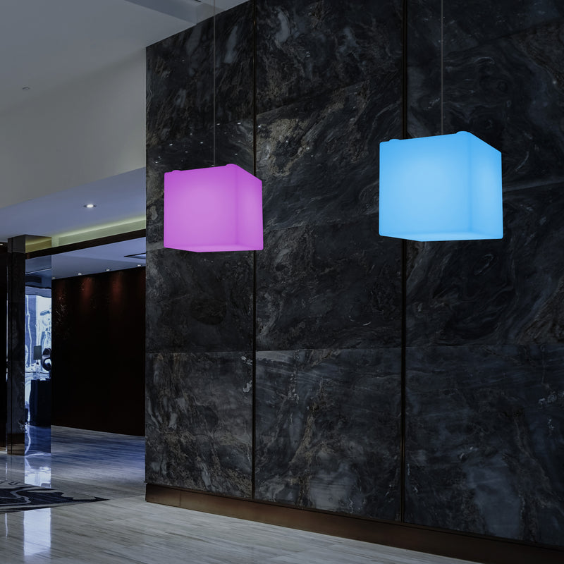 LED Cube Pendant Light, Colour Changing SMD RGB Suspension Lamp, 300 mm, Ambient Light