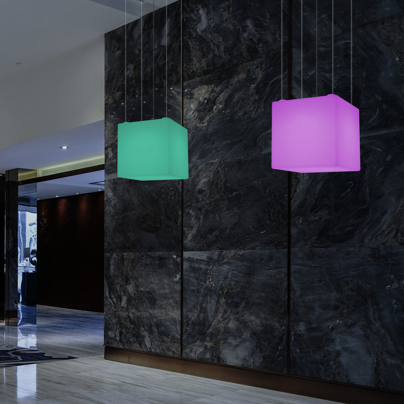 Cube Pendant LED Light, Contemporary Suspension Lamp, 40cm, E27, Colour Changing