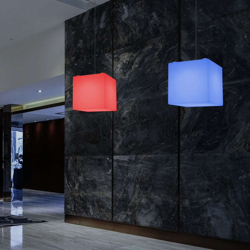 Contemporary Ceiling Light, Cube LED Suspension Lamp, 300 mm, E27, RGB