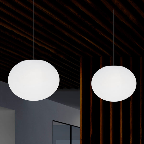 Designer LED Ceiling Pendant Light, 3D Ellipse Oval E27 Hanging Lamp, 27cm Flat Sphere