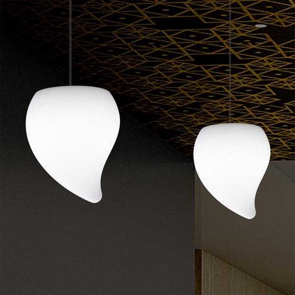 Designer LED Hanging Pendant Light, Unique Tear Drop E27 Suspended Ceiling Lamp, White