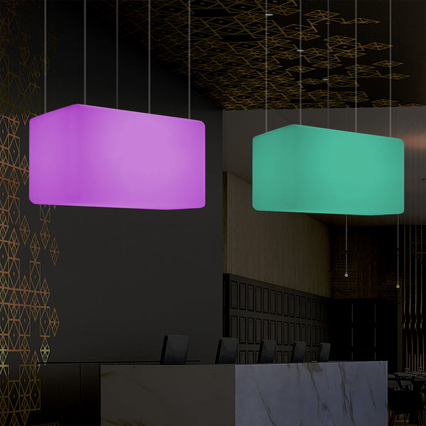Unique Ceiling Light, Linear Island LED Hanging Lamp, 55 x 35cm, E27, RGB with Remote Control