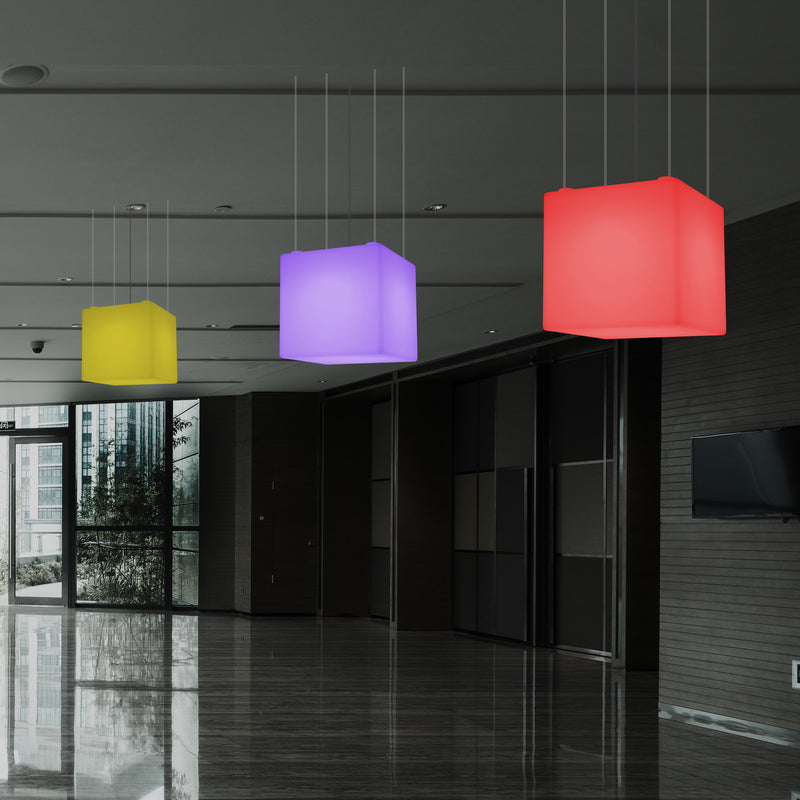 Cube LED Ceiling Light, Multi Colour Modern RGB Hanging Lamp, 400 mm, Ambient Lamp