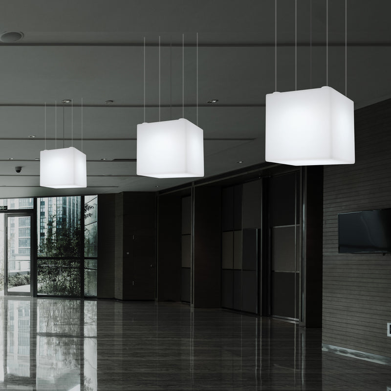 Geometric Ceiling Lamp, Cube LED Hanging Lighting, 50 x 50cm, E27, White