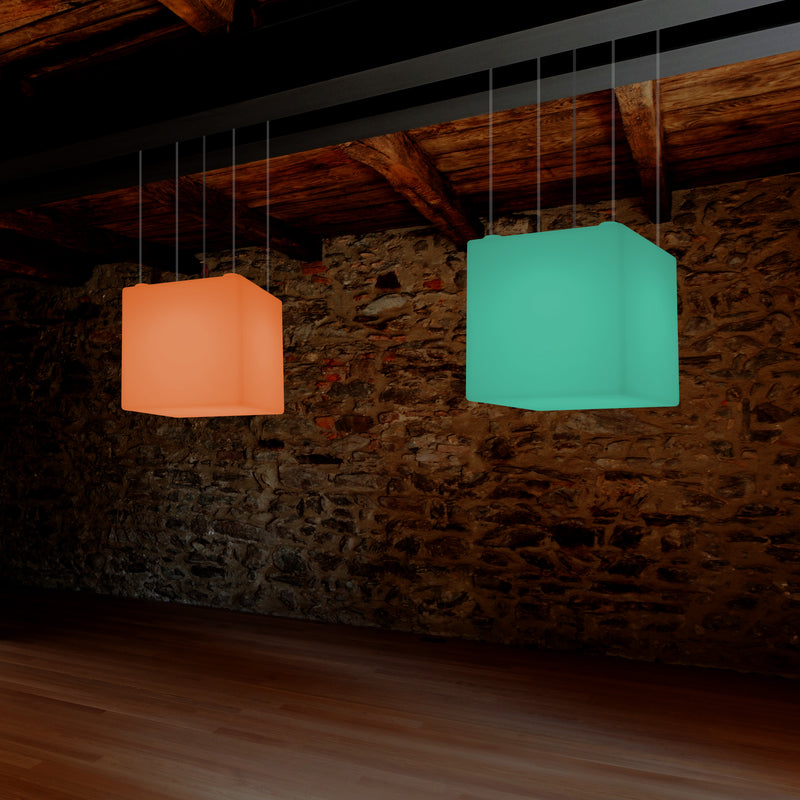 Cube Suspension LED Light, Geometric SMD RGB Ceiling Lamp, 500 mm, Ambient Lighting