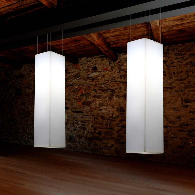 Linear Pendant LED Light, Geometric Ceiling Lamp, 180 x 30 cm, E27, White
