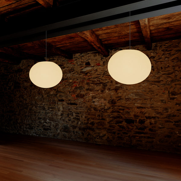 Decorative E27 Hanging Ceiling Light, 3D Oval Ellipse LED Suspension Pendant Lamp, 27cm Orb
