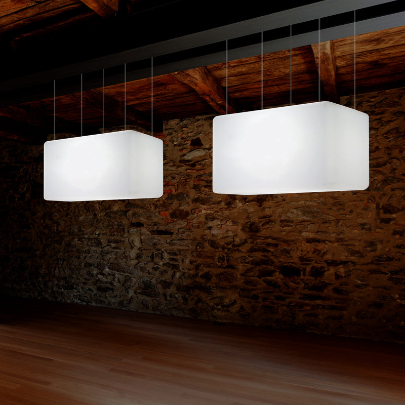 Linear Island LED Hanging Light, Designer Ceiling Lamp for Kitchen, 55 x 35cm, E27, White