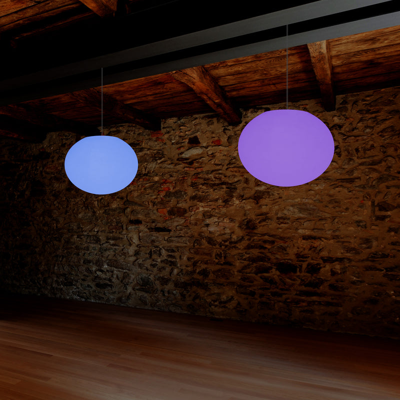 Ellipse Pebble Ceiling Lamp, Designer Oval RGB Hanging Light, 27 cm, LED Ambient Lighting