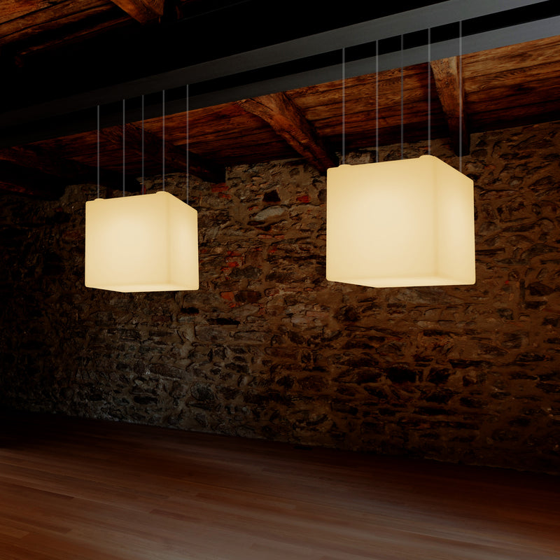 Cube LED Hanging Lamp, Geometric Ceiling Light, 40 x 40 cm, E27, Warm White