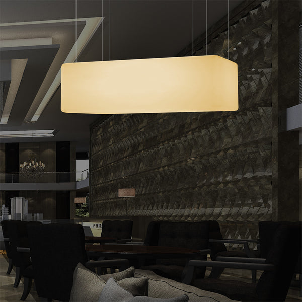 Rectangular LED Hanging Light, 1 Metre Linear Island Pendant Lamp, 100 x 50cm, E27, Warm White