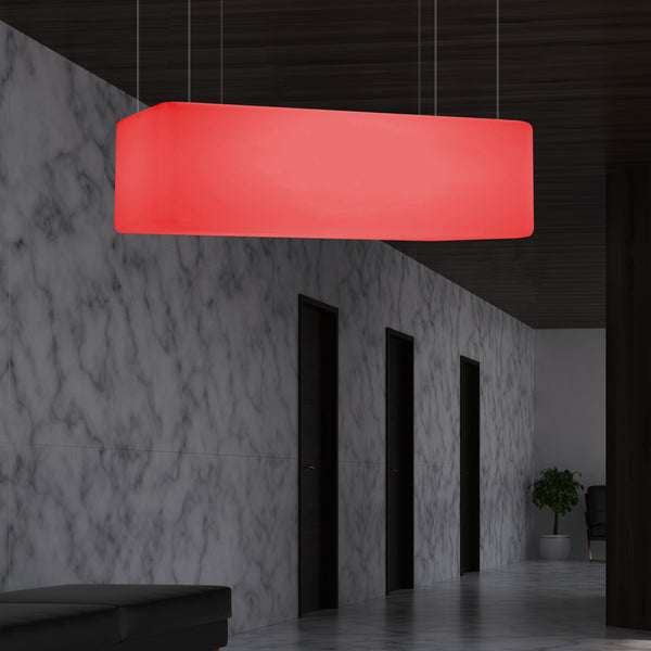 Rectangle LED Pendant Lamp, 1 Metre Linear Island Suspension Light, 100 x 50cm, RGB Light