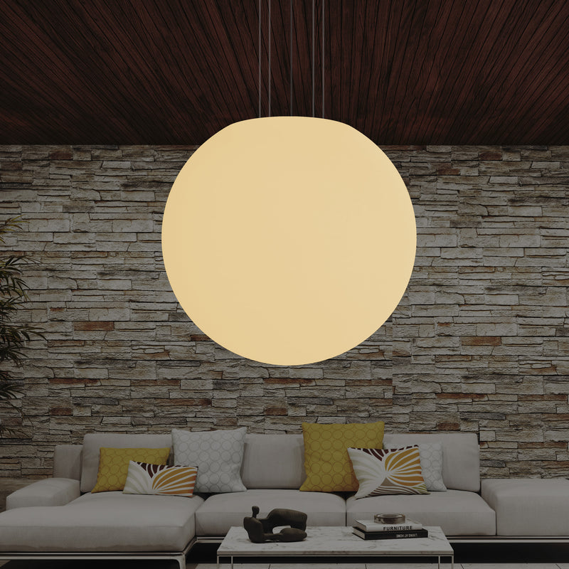 LED E27 Globe Pendant Hanging Light, Large 80cm Orb Suspension Lamp, Warm White, 800mm