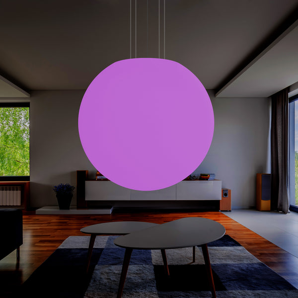 125 cm Sphere Ball Pendant Hanging Light, RGB E27 Ceiling Lamp, 1.25 Metre Diameter