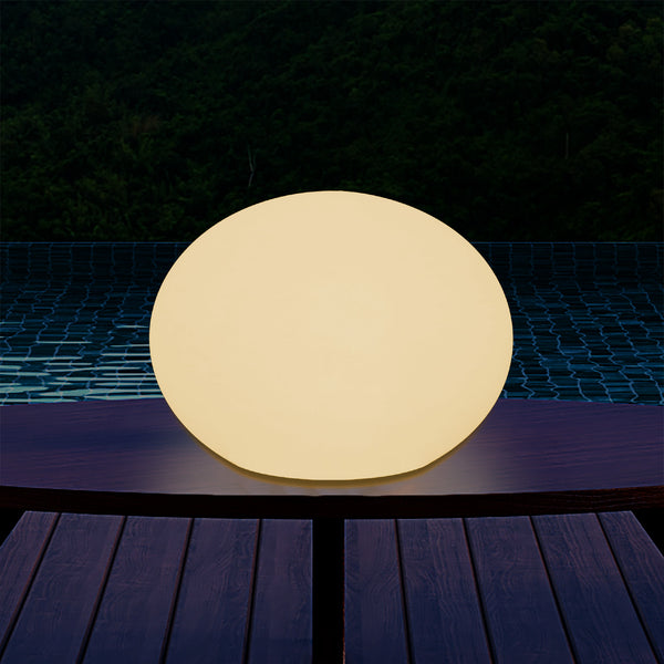 E27 LED Table Lamp, Designer 3D Ellipse Oval Bedroom Light, 27cm Flat Sphere, Warm White