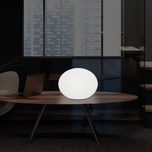 Decorative LED E27 Table Lamp, 3D Oval Ellipse Living Room Light, 27cm, White