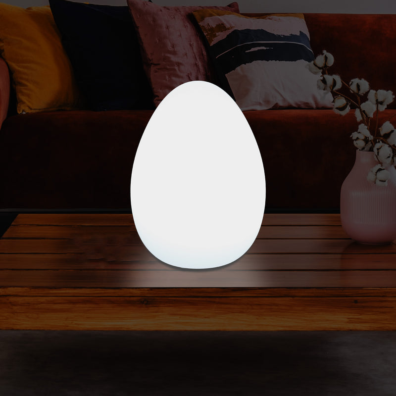 Modern E27 LED Table Lamp for Living Room, Bedroom, Office Desk, 37cm Egg Light, White