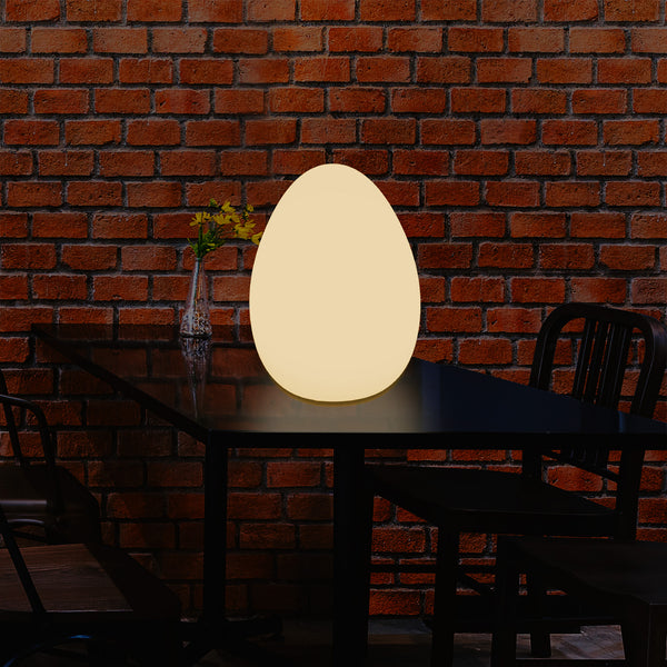 LED Table Lamp for Bedroom with Warm White E27 Bulb, Modern 37cm Egg Light