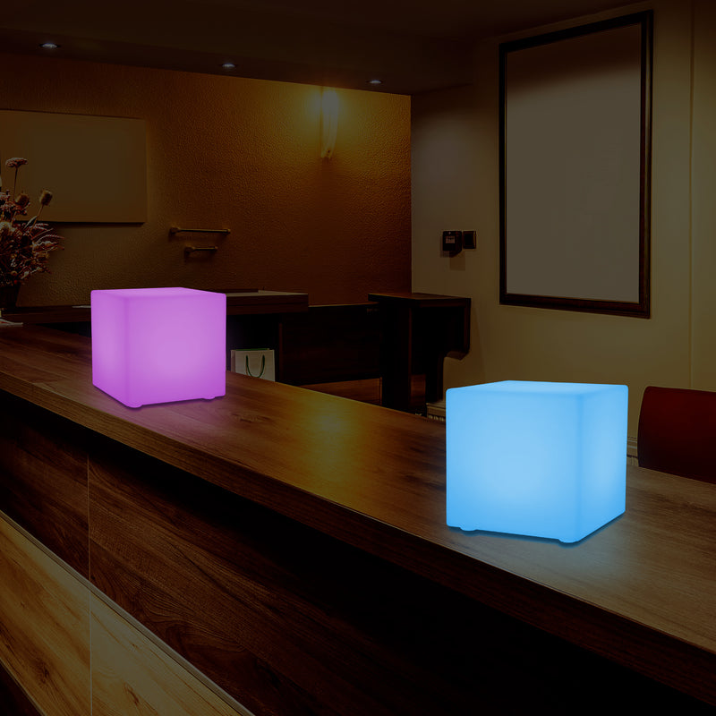 LED Mood Cube Night Light, Multi Colour Bedside Table Lamp, Battery Operated, 15cm