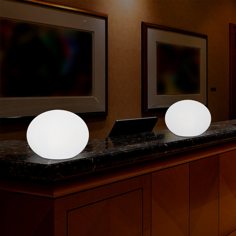 Decorative LED E27 Dimmable Table Lamp, 3D Oval Ellipse Living Room Light, 27cm, White