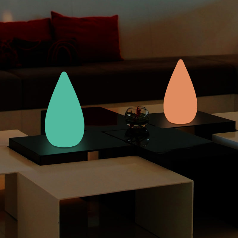 Unique Colour Changing LED Waterdrop Light, Dimmable RGB Table Floor Lamp, 37cm Tall