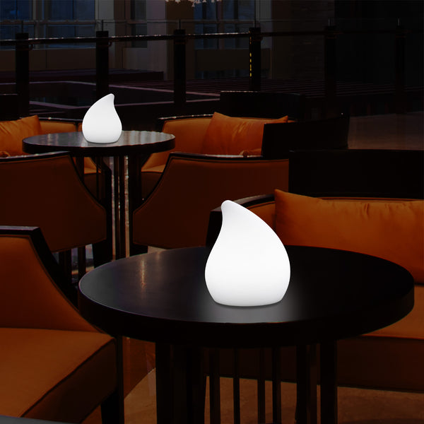 Unique LED Table Lamp for Living Room, 20cm Tall Decorative E27 Tear Drop Light, White