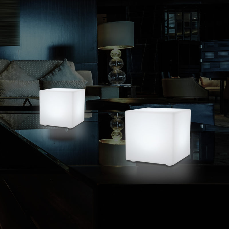 15cm LED Cube Bedside Night Lamp, Rechargeable RGB Modern Table Centre Lighting