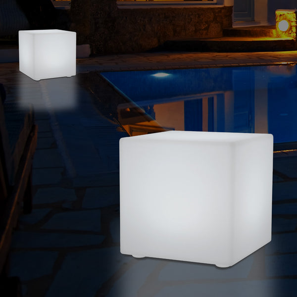 Outdoor Mains Operated Garden Light, 30cm Colour Changing LED Cube Balcony Terrace Lamp