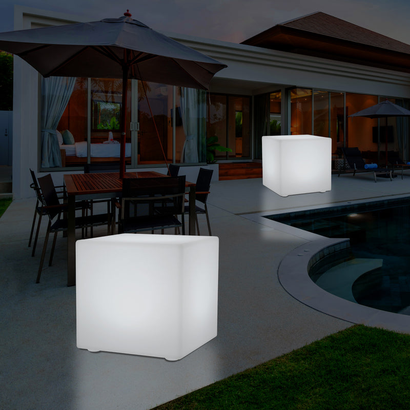 Mains Powered Garden Outdoor 60cm Cube, Illuminated Stool Seat Table Furniture, RGB