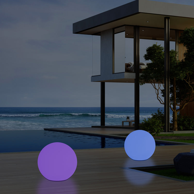 Outdoor LED Garden Patio Globe Light, Mains Operated 30cm Dimmable RGB Ball Lamp, 5V
