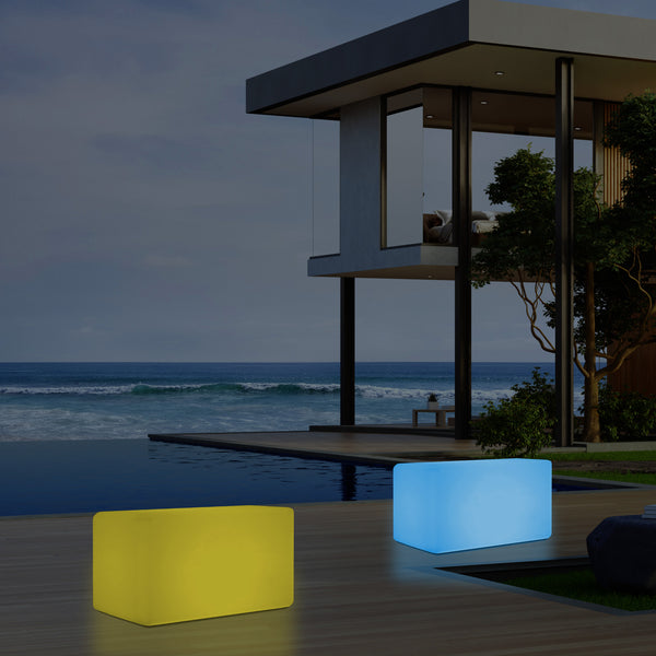 External Garden Patio Bench Light, Illuminated LED Stool Seating, Mains Powered, 55x35 cm