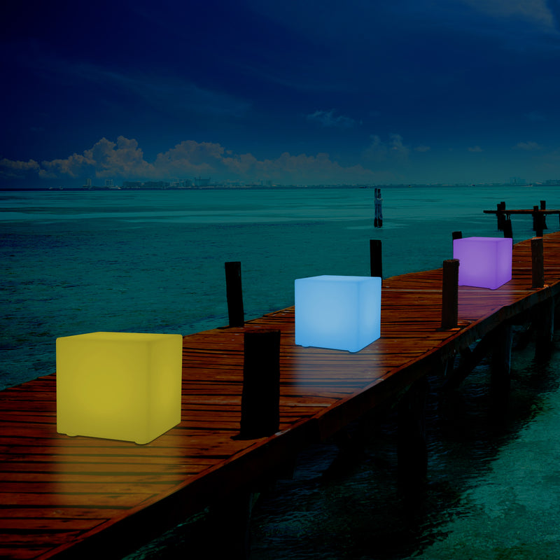 Outdoor LED Cube Stool Seat, Mains Powered Garden Floor Lamp, Multi Colour, 400 x 400 mm