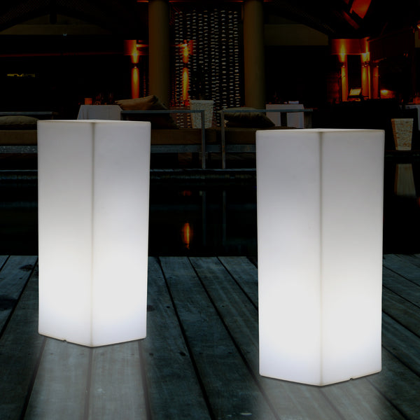 LED Pillar Plinth Column Floor Lamp, Wireless Outdoor Garden Patio Lighting, 110 x 30 cm