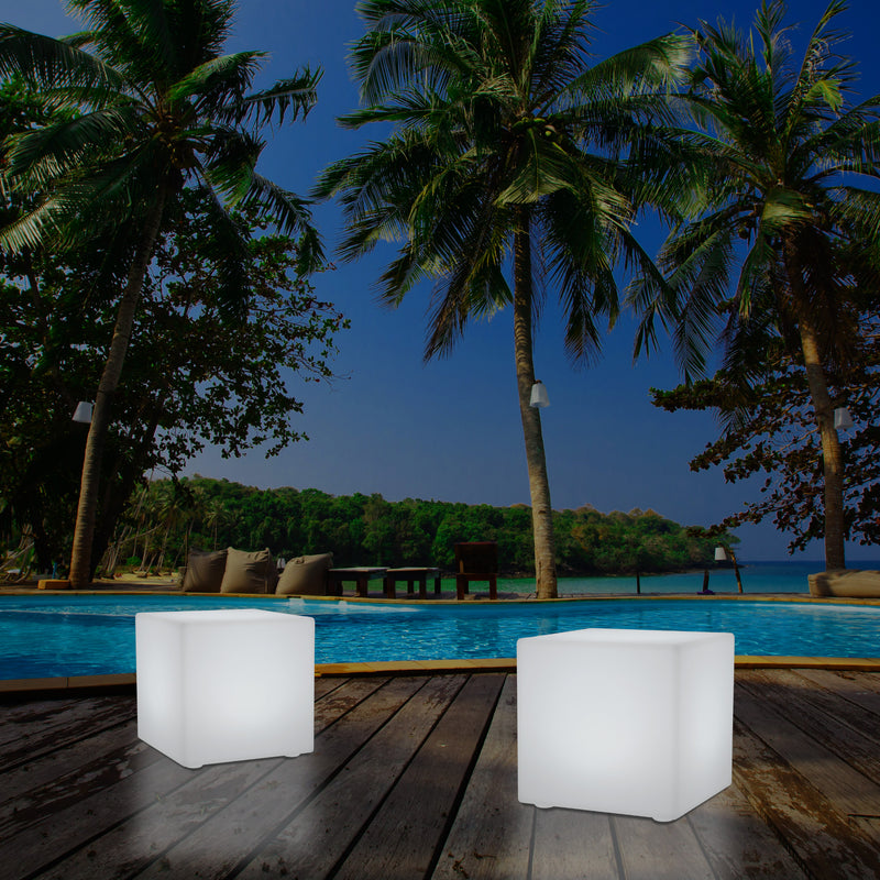 50cm External Garden LED Cube Seat Stool Light, 500mm Mains Operated 5V Patio Floor Lamp