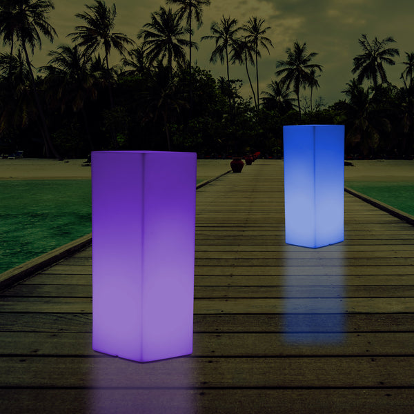 Outdoor Illuminated Pillar Column Plinth Garden Patio Light, 80cm Landscape Pathway Lamp