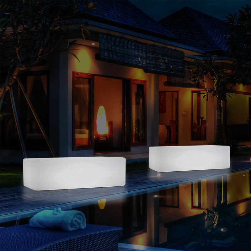Garden Outdoor LED Bench Furniture Table Stool Seat, Mains Powered RGB, 1 Metre Length