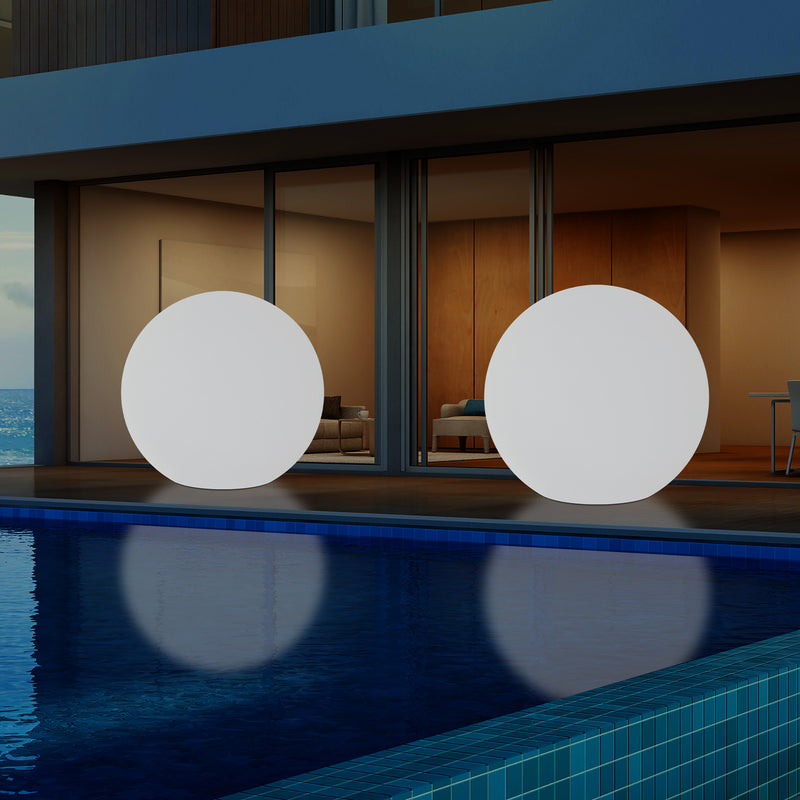 125cm External Garden Sphere Light, Mains Powered Dimmable RGB Ball Lamp, 1.25 Metre Dia.