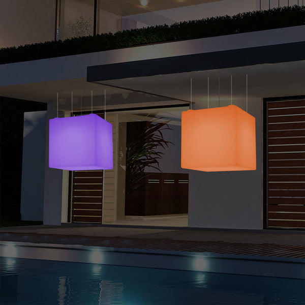 External Garden Suspension Light, Mains Powered LED Ceiling Lamp, 60cm Cube, Multi Colour