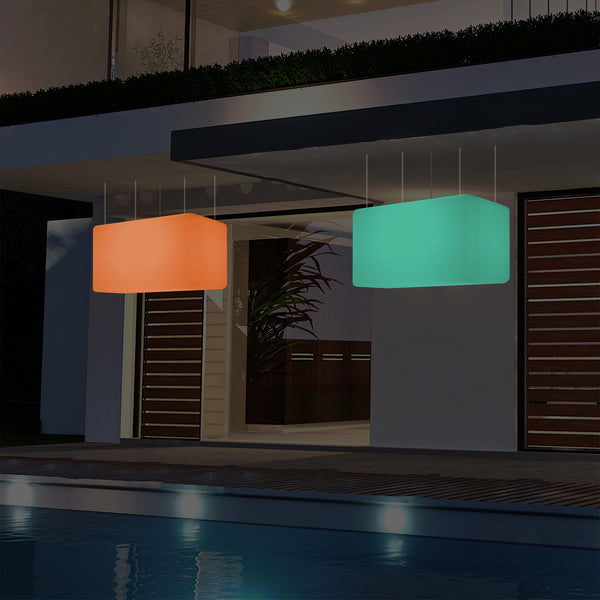 Mains Operated Outdoor Garden Ceiling Light, 55x35 cm LED Linear Island Hanging Lamp, RGB