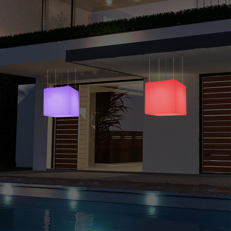 Mains Operated Outdoor Terrace Ceiling Light, 50cm LED Cube Hanging Lamp, 5V Low Voltage