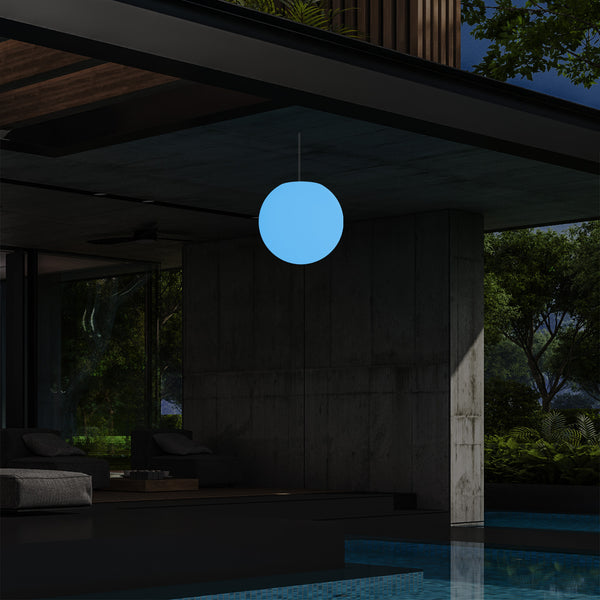 Outdoor Garden Hanging Light, Mains Powered LED Ceiling Lamp, 15cm Ball, Multi Colour