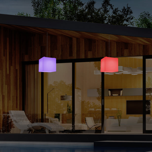 Outdoor Garden LED Hanging Lamp, Mains Powered 15cm Cube Suspension Lamp, Multi Colour