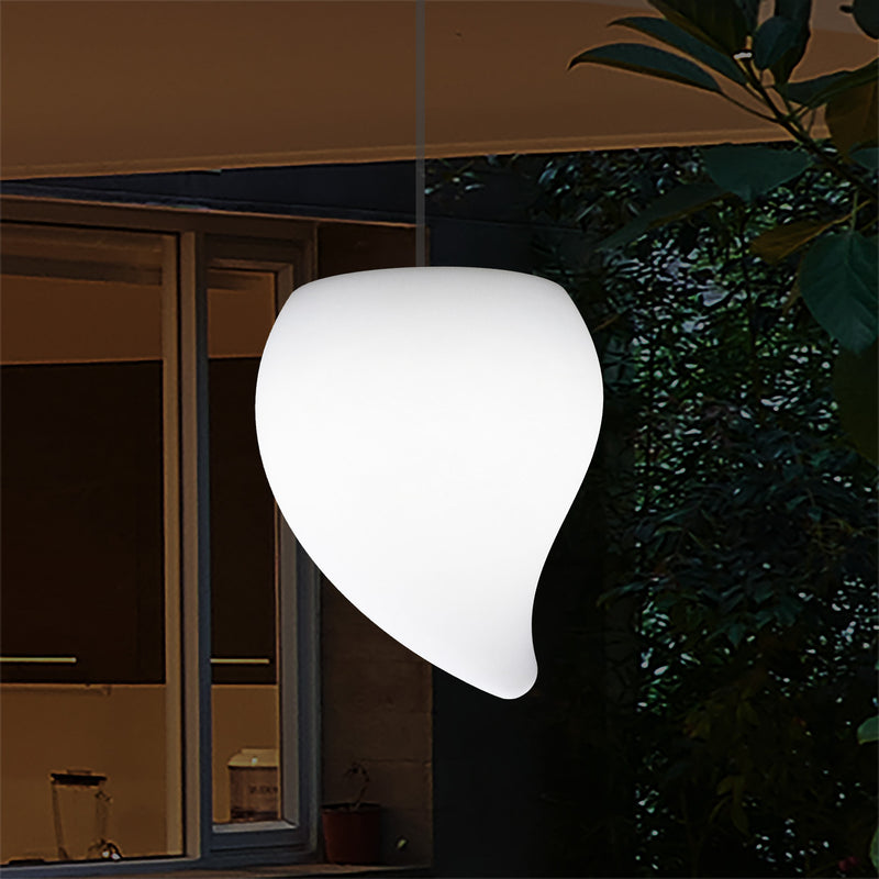 Outdoor Balcony LED Hanging Lamp, Mains Powered 20cm Tear Drop Suspension Lamp, Multicolour