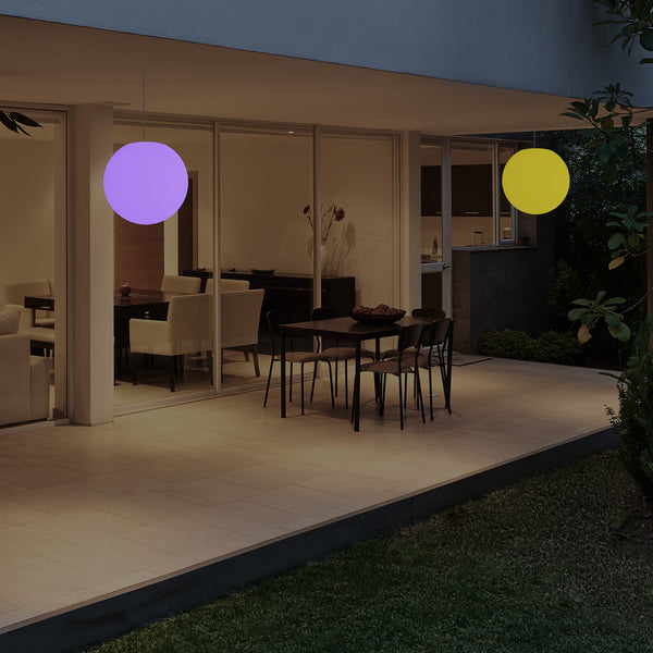 Garden Patio LED Pendant Lamp, Mains Powered 20cm Sphere Suspension Lamp, RGB