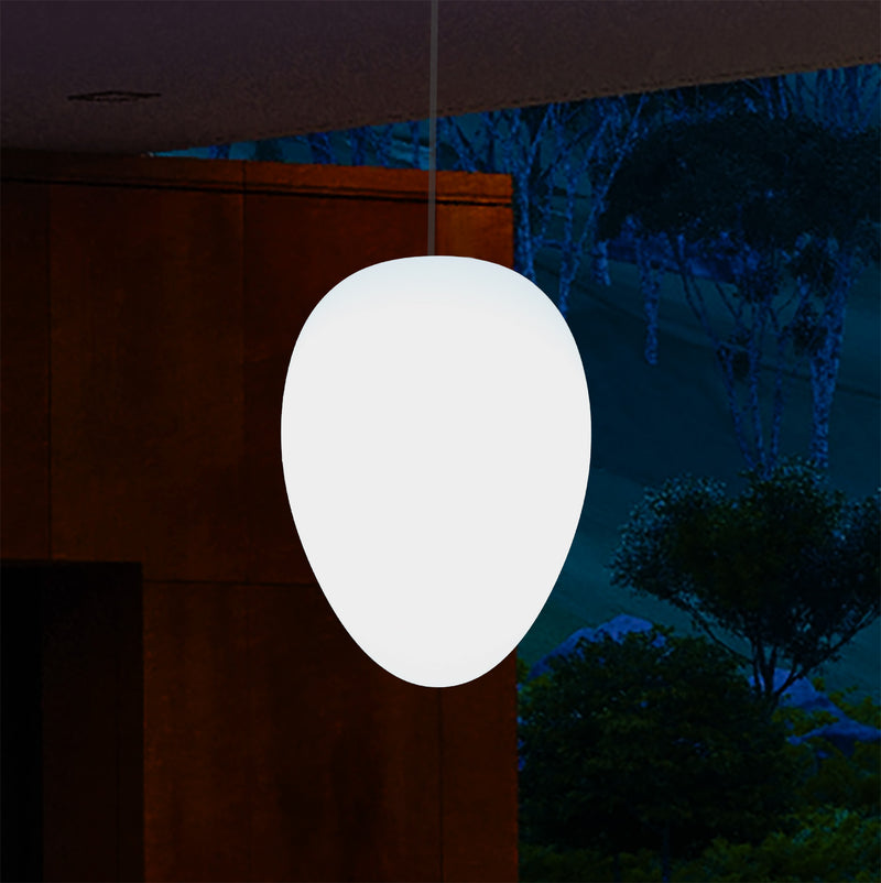 Mains Operated Garden Patio Ceiling Light, 37cm LED Egg Hanging Lamp, RGB