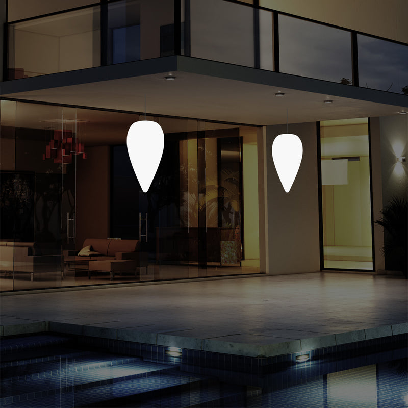 Outdoor Terrace Hanging Light, Mains Powered LED Ceiling Lamp, 37cm Water Drop, RGB