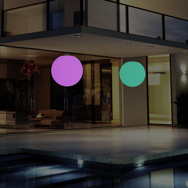 External Balcony Suspension Light, Mains Powered LED Ceiling Lamp, 30cm Orb, Multicolour