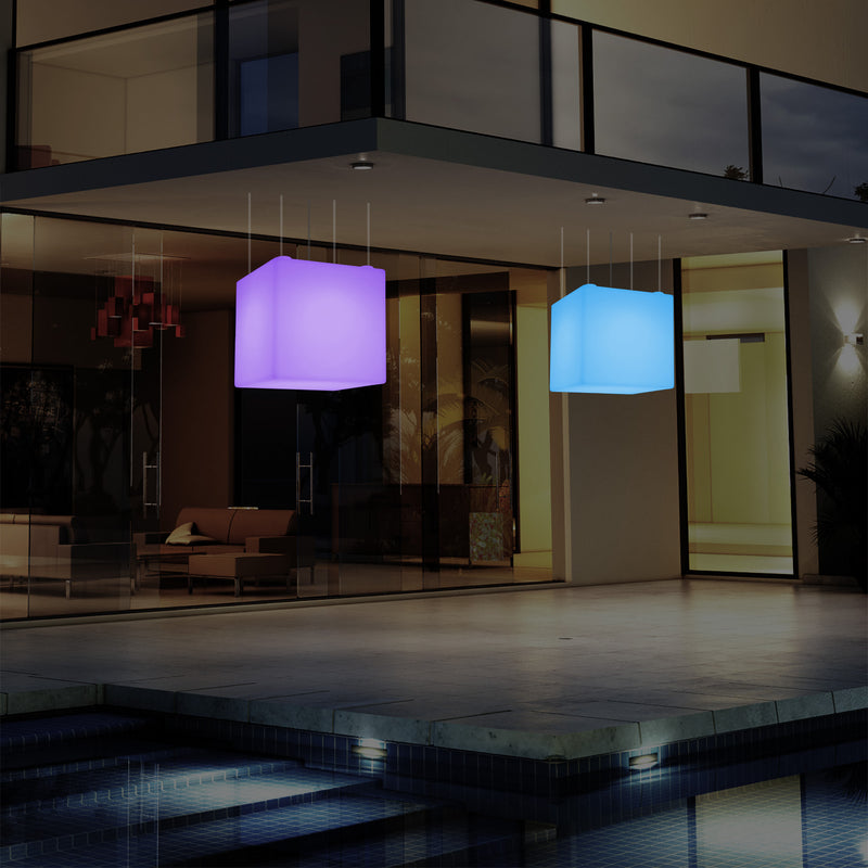 Outdoor Balcony LED Pendant Lamp, Mains Powered 40cm Cube Suspension Lamp, Multicolour