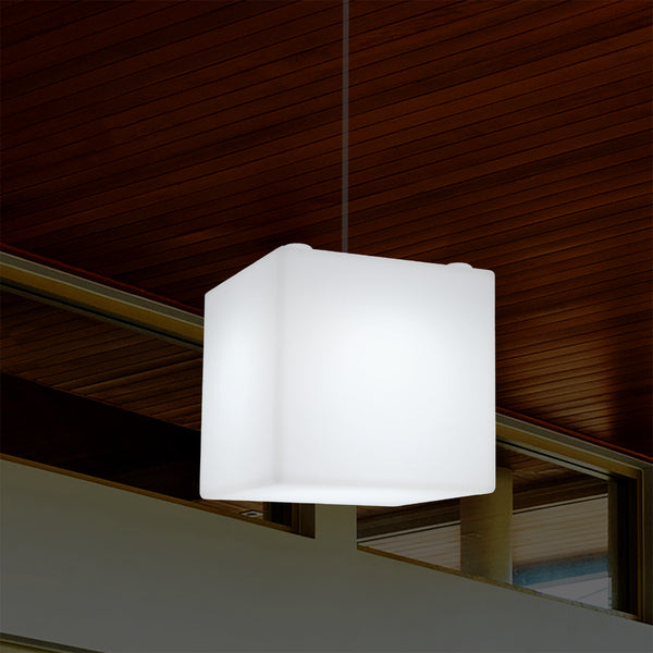 Mains Operated Garden Patio Ceiling Light, 20cm LED Cube Pendant Lamp, RGB