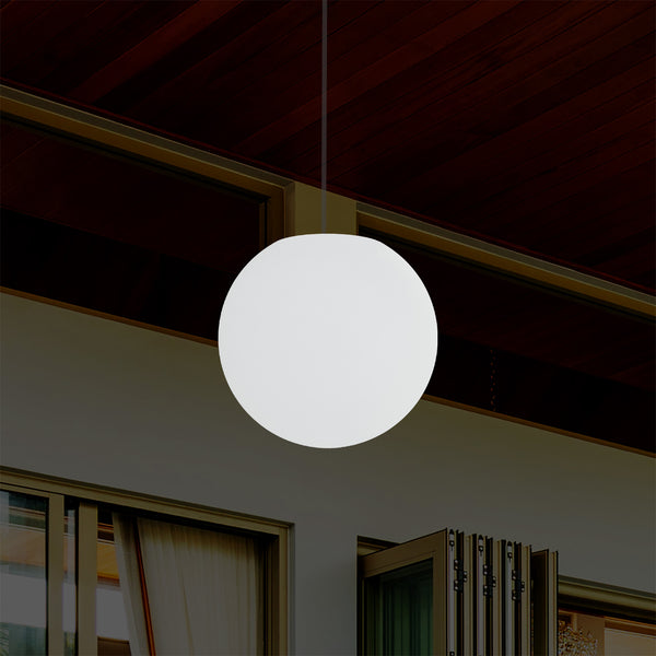 Mains Operated Outdoor Veranda Ceiling Light, 25cm LED Globe Hanging Lamp, Colour Changing